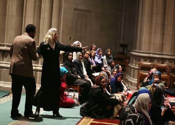 This is the Woman who interrupted Muslim prayer at National Cathedral