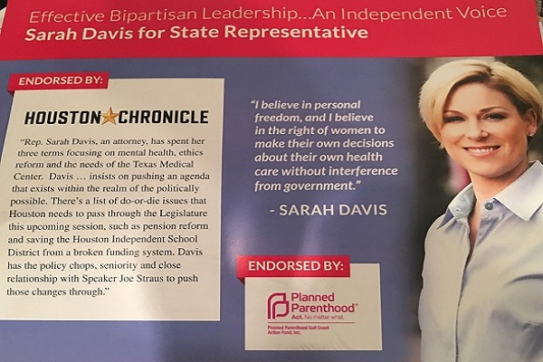 Woodfill: Enough is Enough! Demand that State Rep. Sarah Davis Disavow Her Planned Parenthood Endorsement
