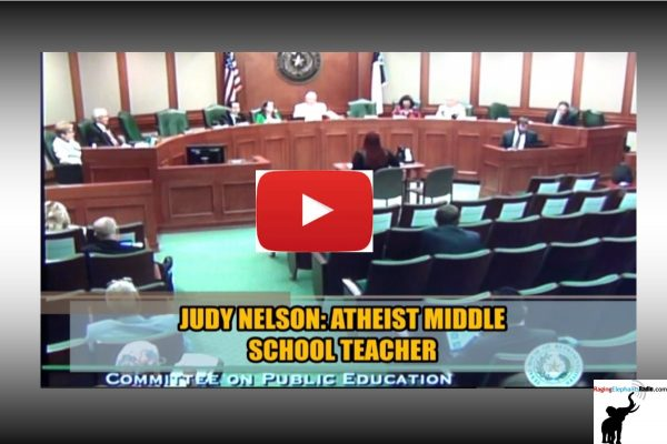 RERvideo – ATHIEST TEXAS MIDDLE SCHOOL TEACHER TESTIFIES AGAINST ACADEMIC FREEDOM ACT (VIDEO)